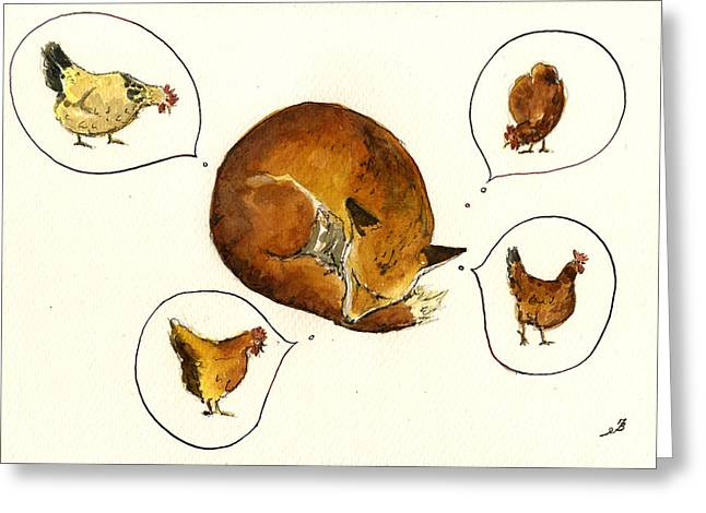 Cock Greeting Cards - Dreaming fox Greeting Card by Juan  Bosco