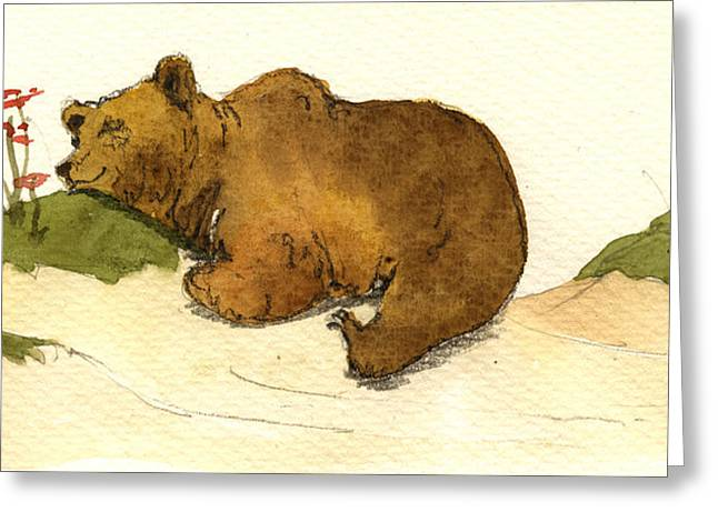 Sand Art Greeting Cards - Dreaming grizzly bear Greeting Card by Juan  Bosco