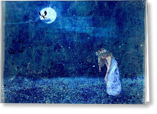 Mystical Landscape Greeting Cards - Dreaming in Blue Greeting Card by Rhonda Barrett