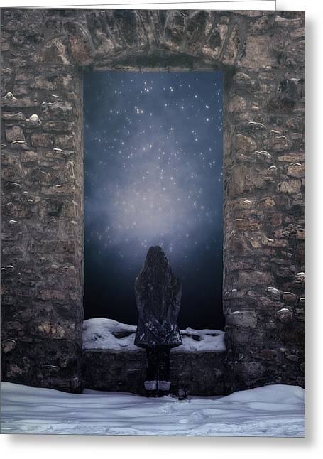 Snowy Evening Greeting Cards - Dreaming In Snow Greeting Card by Joana Kruse