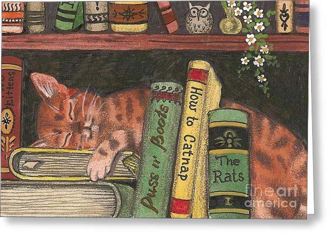 Margaryta Yermolayeva Greeting Cards - Dreaming In The Library Greeting Card by Margaryta Yermolayeva