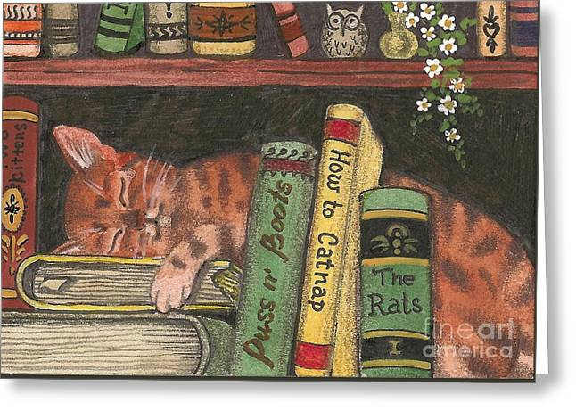 D�cor Greeting Cards - Dreaming In The Library Greeting Card by Margaryta Yermolayeva