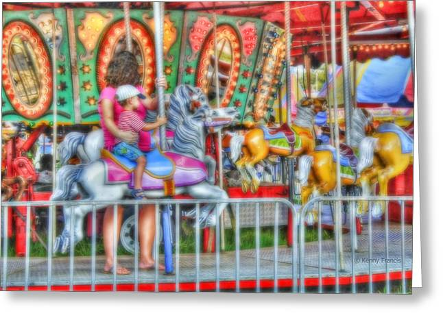 Wooden Platform Greeting Cards - Dreaming Of Carousels Greeting Card by Kenny Francis