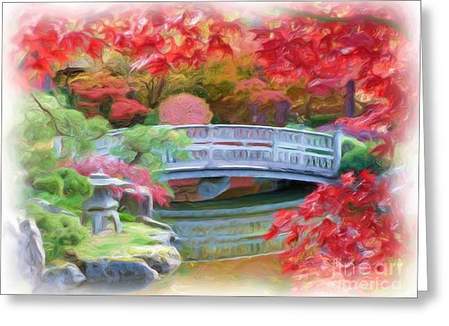 """spokane Washington"" Greeting Cards - Dreaming of Fall Bridge in Manito Park Greeting Card by Carol Groenen"