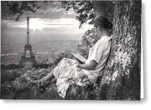 Dreaming Of Paris Greeting Card by Debra and Dave Vanderlaan