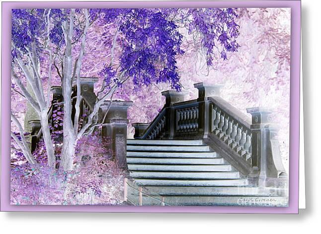 Pink And Lavender Greeting Cards - Dreaming of Paris - Monceau Park Bridge Greeting Card by Carol Groenen