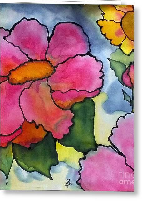 Pink Flower Prints Tapestries - Textiles Greeting Cards - Dreaming of pink flowers Greeting Card by Vickie Scarlett-Fisher