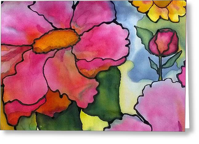Children Tapestries - Textiles Greeting Cards - Dreaming of pink flowers Greeting Card by Vickie Scarlett-Fisher