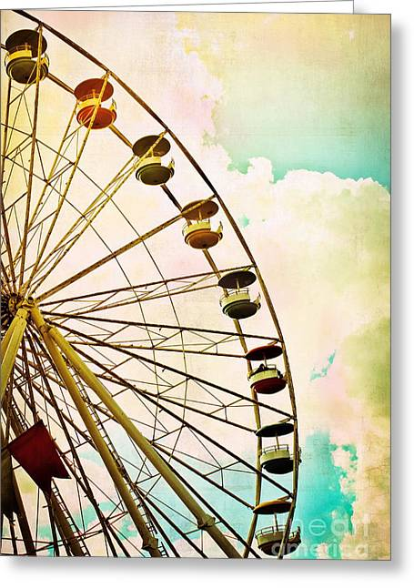 Carnival Ride Greeting Cards - Dreaming of Summer - Ferris Wheel Greeting Card by Colleen Kammerer