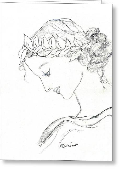 Ink Drawing Greeting Cards - Dreaming of the Dance Greeting Card by Maria Hunt