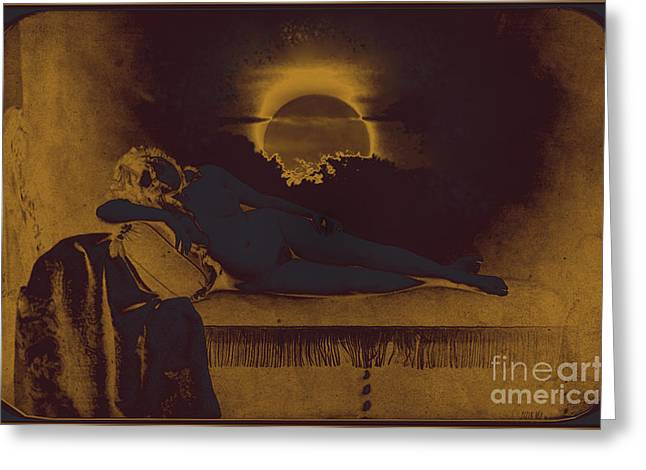 Chaise Digital Art Greeting Cards - Dreaming of the New Dawn. Reclining Nude Bathed in Blue. Greeting Card by Peter Mix and Gustave Le Gray