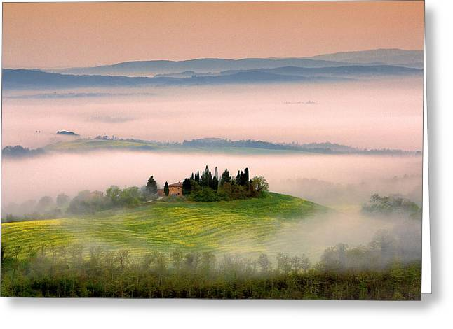 Localities Greeting Cards - Dreaming of Tuscany Greeting Card by Laurence Delderfield