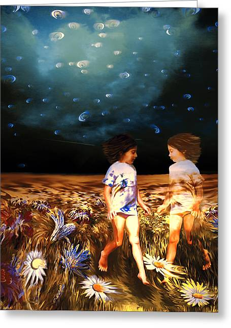 Unconsciousness Greeting Cards - Dreaming sisters Greeting Card by Petra Verzichova
