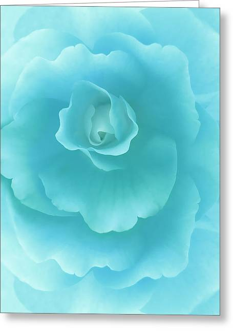 Turquoise Pastel Greeting Cards - Dreaming Teal Begonia Floral Greeting Card by Jennie Marie Schell