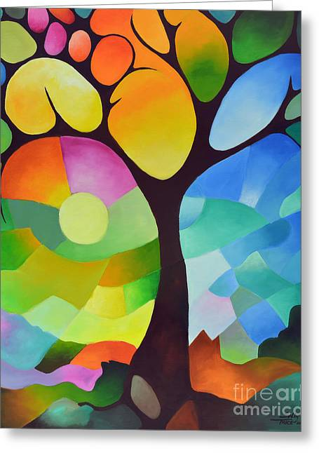 Tangerine Greeting Cards - Dreaming Tree Greeting Card by Sally Trace