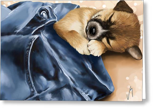 Puppies Digital Art Greeting Cards - Dreaming Greeting Card by Veronica Minozzi