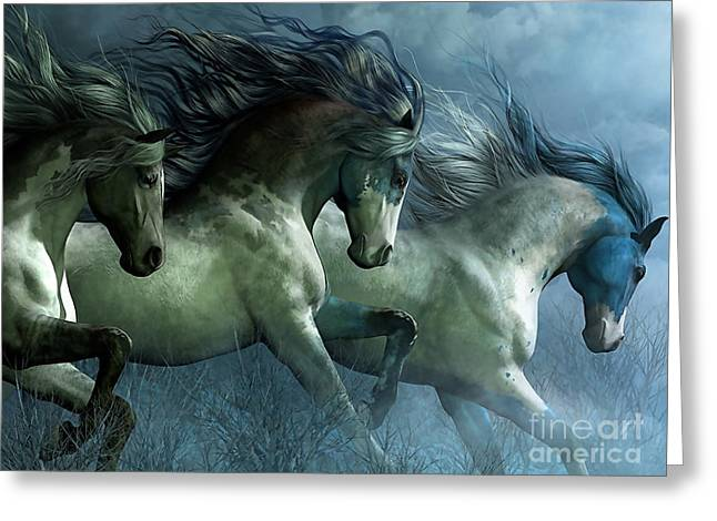 Mustang Greeting Cards - Dreaming Wild Horses Greeting Card by Marvin Blaine