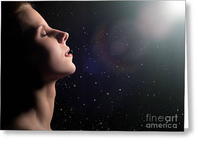 Orgasm Greeting Cards - Dreaming Woman Profile Greeting Card by Aleksey Tugolukov
