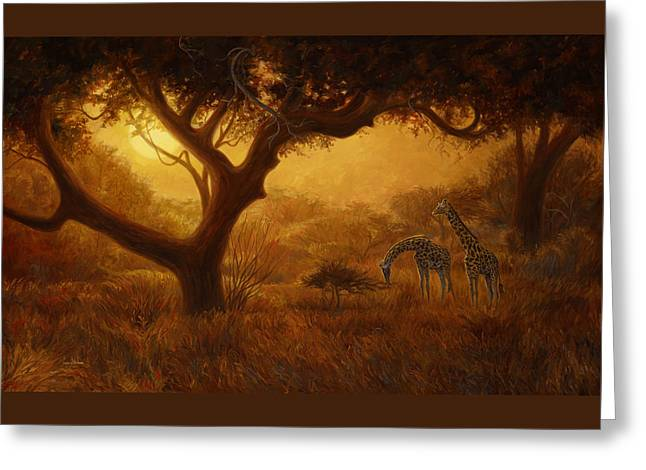 Giraffe Greeting Cards - Dreamland Greeting Card by Lucie Bilodeau