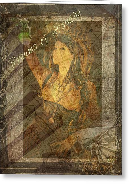 Dreams Of Absinthe - Steampunk Greeting Card by Absinthe Art By Michelle LeAnn Scott