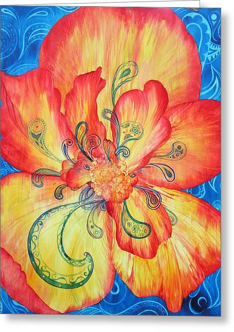 Blue Begonias Greeting Cards - Dreams of Frieda and Georgia Greeting Card by Annika Farmer