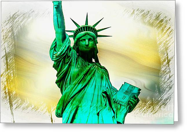 Statue Of Liberty Greeting Cards - Dreams Of Liberation Greeting Card by Az Jackson