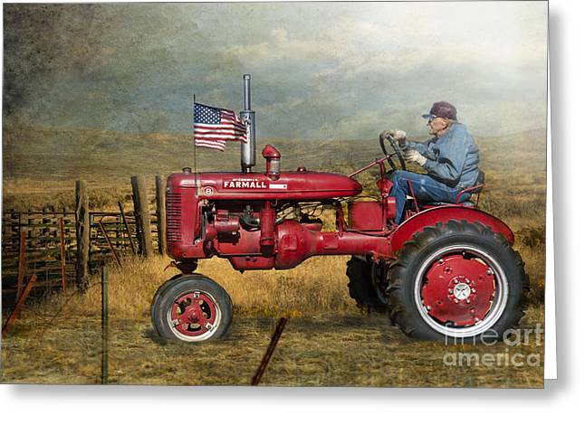 Red Tractors Greeting Cards - Dreams of Yesteryear Greeting Card by Betty LaRue