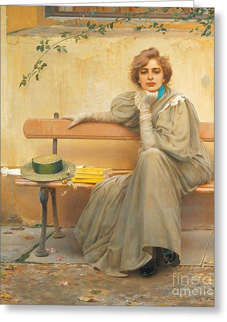 Female Portrait Greeting Cards - Dreams  Greeting Card by Vittorio Matteo Corcos