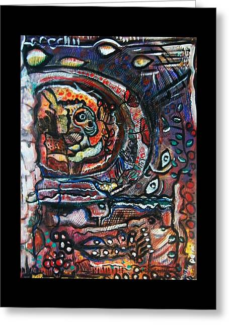 Subconscious Greeting Cards - DREAMSEQUENCE no. 2 - MONSTER IN A BUBBLE Greeting Card by Mimulux patricia no