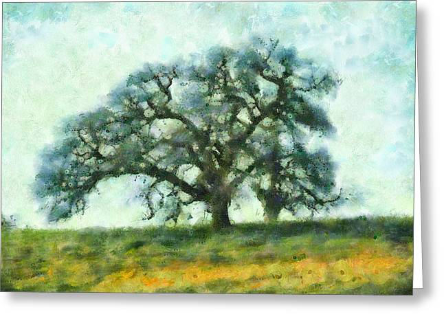 Arastradero Greeting Cards - Dreamtime Oak Tree Greeting Card by Priya Ghose