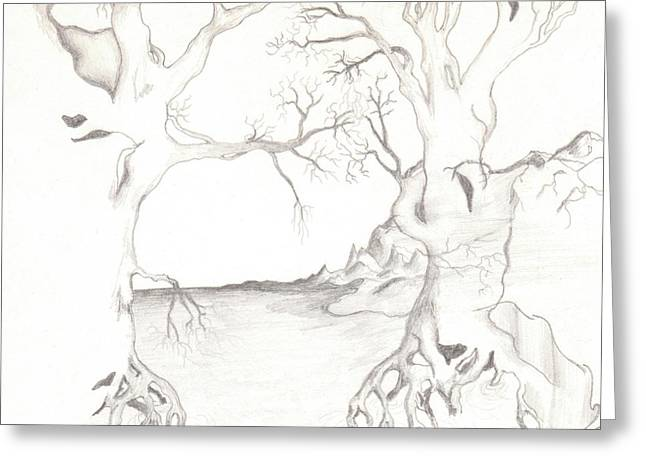 Surreal Landscape Drawings Greeting Cards - Dreamtrees Greeting Card by Larry Eiler