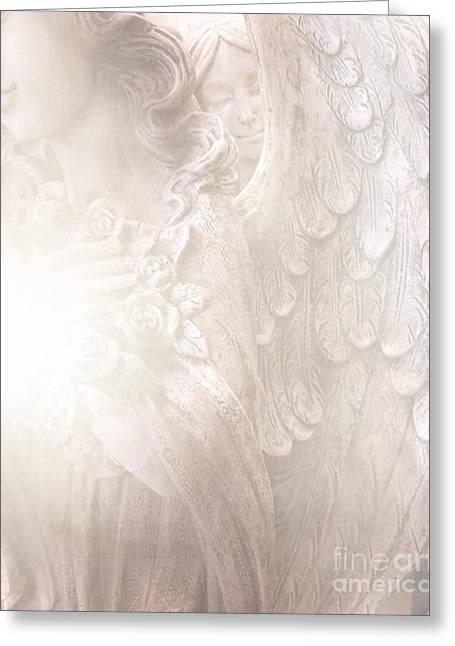 Spiritual Angel Art Greeting Cards - Dreamy Angel Art - Ethereal Spiritual Dream Angel Wings - Heavenly Angel Wings Greeting Card by Kathy Fornal