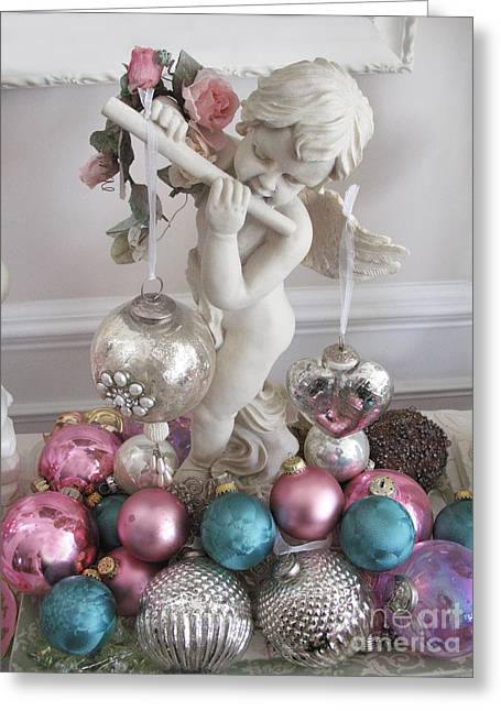 Angels Of Christmas Greeting Cards - Angel Cherub Playing Flute With Christmas Holiday Ornaments - Shabby Chic Holiday Christmas Angel Greeting Card by Kathy Fornal