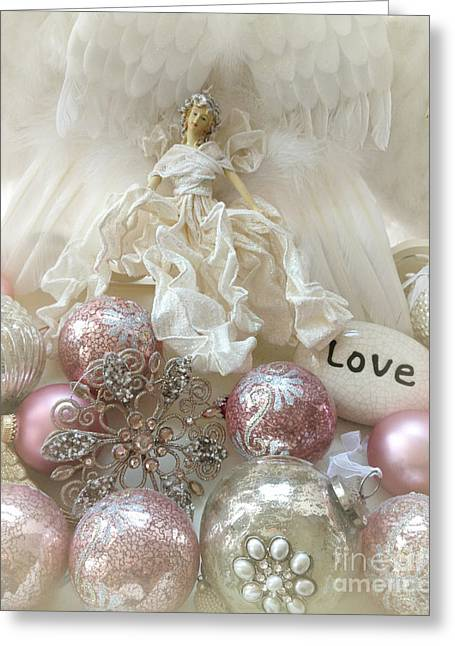 Note Card Greeting Cards - Dreamy Angel Christmas Holiday Shabby Chic Love Print - Holiday Angel Art Romantic Christmas Decor Greeting Card by Kathy Fornal