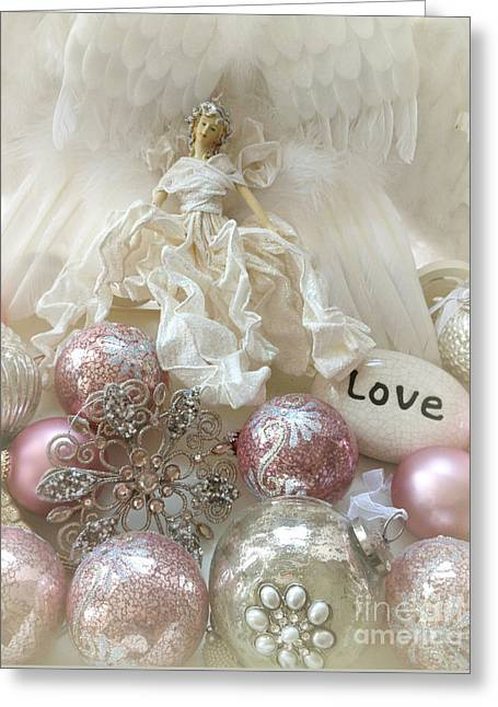 Dreamy Angel Christmas Holiday Shabby Chic Love Print - Holiday Angel Art Romantic Holiday Ornaments Greeting Card by Kathy Fornal