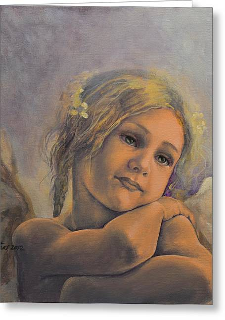 Live Paintings Greeting Cards - Dreamy Angel Greeting Card by Dorina  Costras