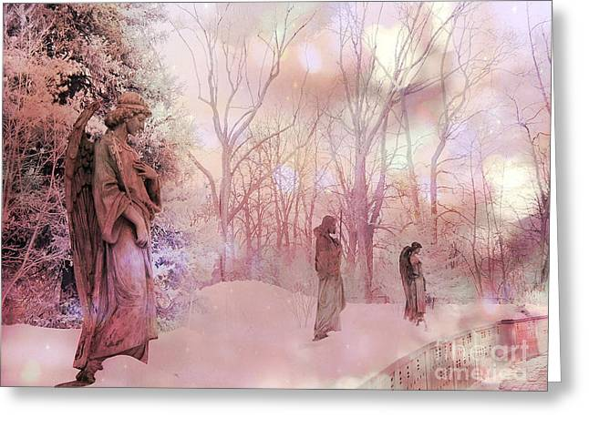 Ethereal Angel Art Greeting Cards - Dreamy Angel Surreal Ethereal Pink Woodlands With Angels And Statues Greeting Card by Kathy Fornal