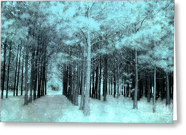 Dreamy Aqua Mint Teal Fantasy Fairytale Trees Woodlands And Stars Greeting Card by Kathy Fornal