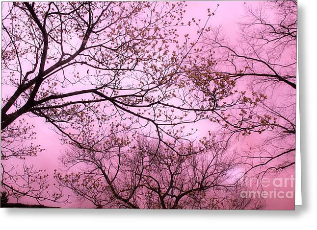 Dreamy Baby Pastel Pink Trees Nature - Shabby Chic Pink Nature Tree Art Greeting Card by Kathy Fornal