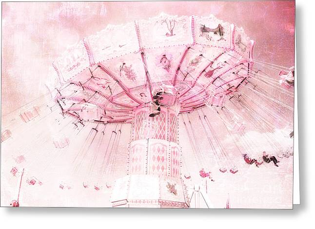 Surreal Ferris Wheel Greeting Cards - Dreamy Baby Pink Carnival Fair Ferris Wheel - Baby Nursery Child Room Carnival Photos Greeting Card by Kathy Fornal