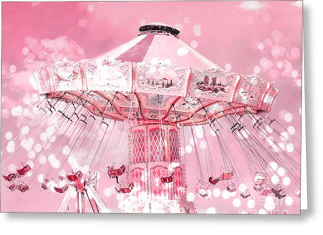 Pink Photos Greeting Cards - Dreamy Baby Pink Carnival Fair Ferris Wheel Swing Ride - Baby Nursery Child Room Ferris Wheel Photos Greeting Card by Kathy Fornal