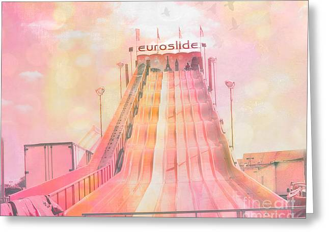Carnival Fun Festival Art Decor Greeting Cards - Dreamy Baby Pink Carnival Ride - Euroslide Greeting Card by Kathy Fornal