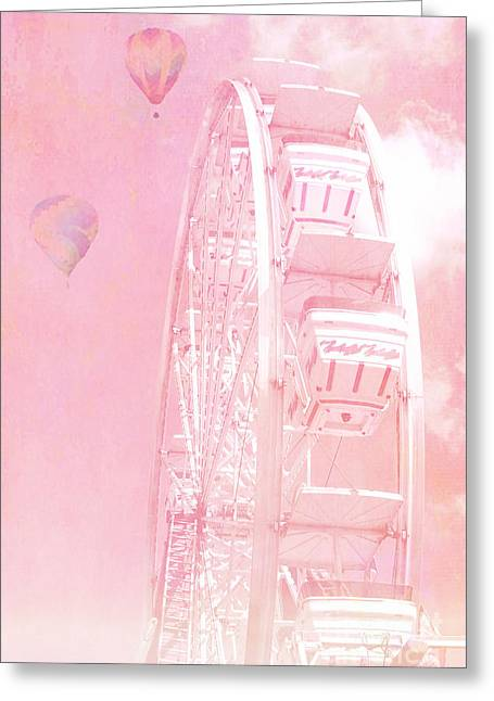 Hot Air Greeting Cards - Dreamy Baby Pink Ferris Wheel Carnival Art With Hot Air Balloons Greeting Card by Kathy Fornal