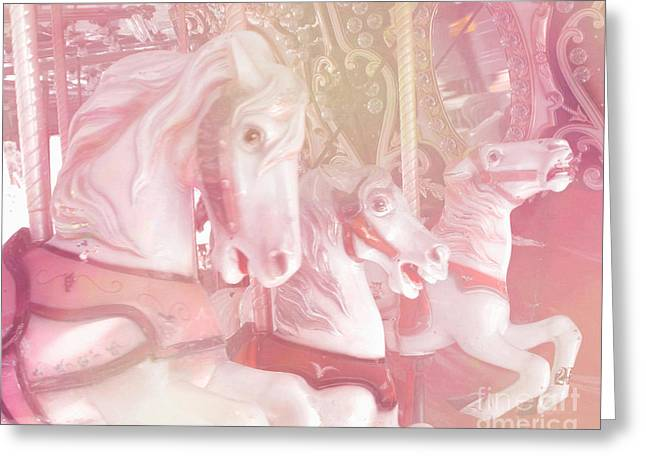 Festivals Fairs Carnival Photos Greeting Cards - Dreamy Baby Pink Merry Go Round Carousel Horses - Dreamy Pink Carousel Horses Greeting Card by Kathy Fornal