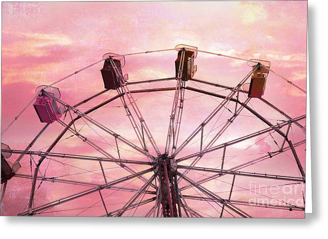 Dreamy Baby Pink Sky Ferris Wheel Carnival Art Greeting Card by Kathy Fornal