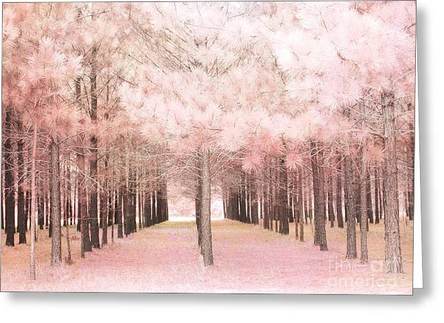 Decor Photography Greeting Cards - Dreamy Baby Pink Trees Woodlands Forest Fairytale Fantasy Nature - Shabby Chic Pink Trees Woodlands Greeting Card by Kathy Fornal