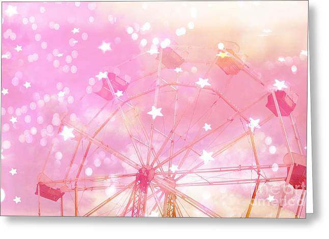 Surreal Ferris Wheel Greeting Cards - Dreamy Baby Pink Yellow Carnival Festival Ferris Wheel With Circles and Stars Greeting Card by Kathy Fornal