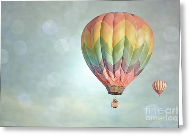 Balloon Fiesta Greeting Cards - Dreamy Balloon Pair Sky Greeting Card by Andrea Hazel Ihlefeld