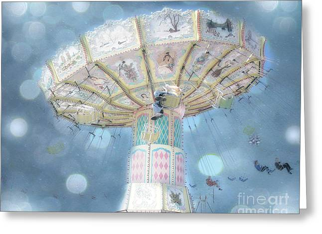 Festivals Fairs Carnival Photos Greeting Cards - Dreamy Blue Surreal Carnival Festival Ferris Wheel Blue Bokeh - Baby Blue Dreamy Ferris Wheel Photo Greeting Card by Kathy Fornal