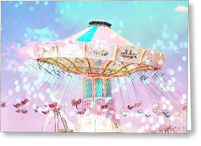 Festivals Fairs Carnival Photos Greeting Cards - Dreamy Carnival Ferris Wheel Ride - Baby Pink Aqua Teal Ferris Wheel Festival Ride Greeting Card by Kathy Fornal
